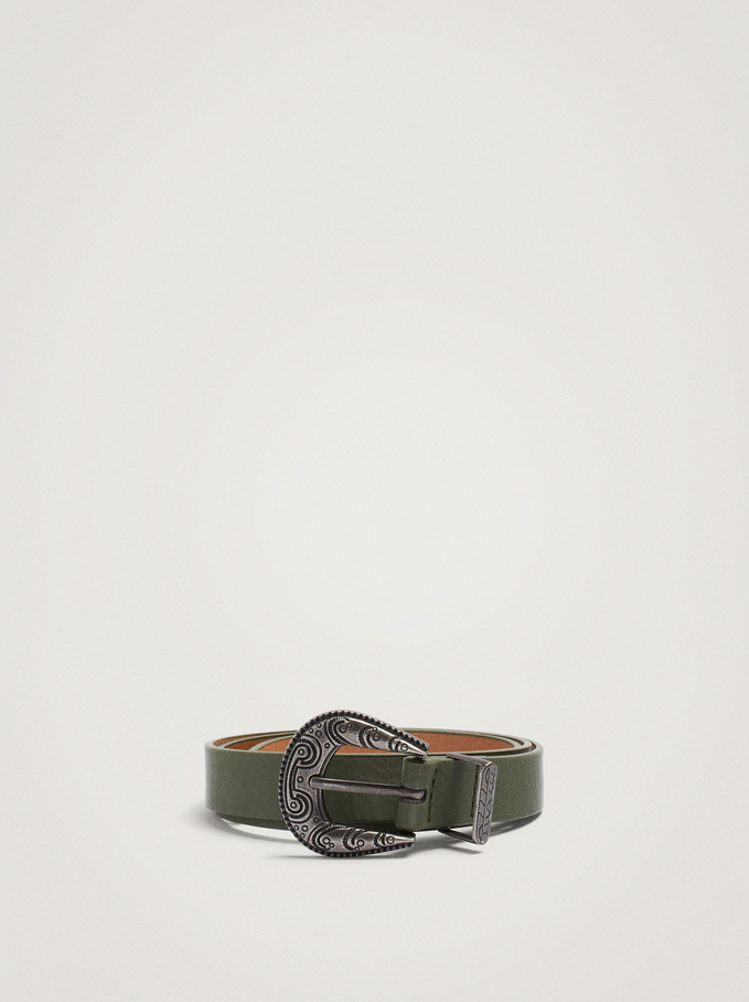 Belt With Round Buckle, Green, hi-res