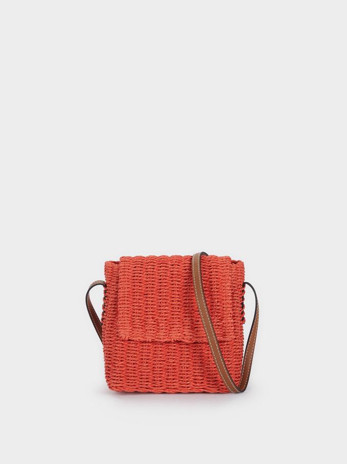 Raffia Shoulder Bag With Adjustable Handle, Orange, hi-res