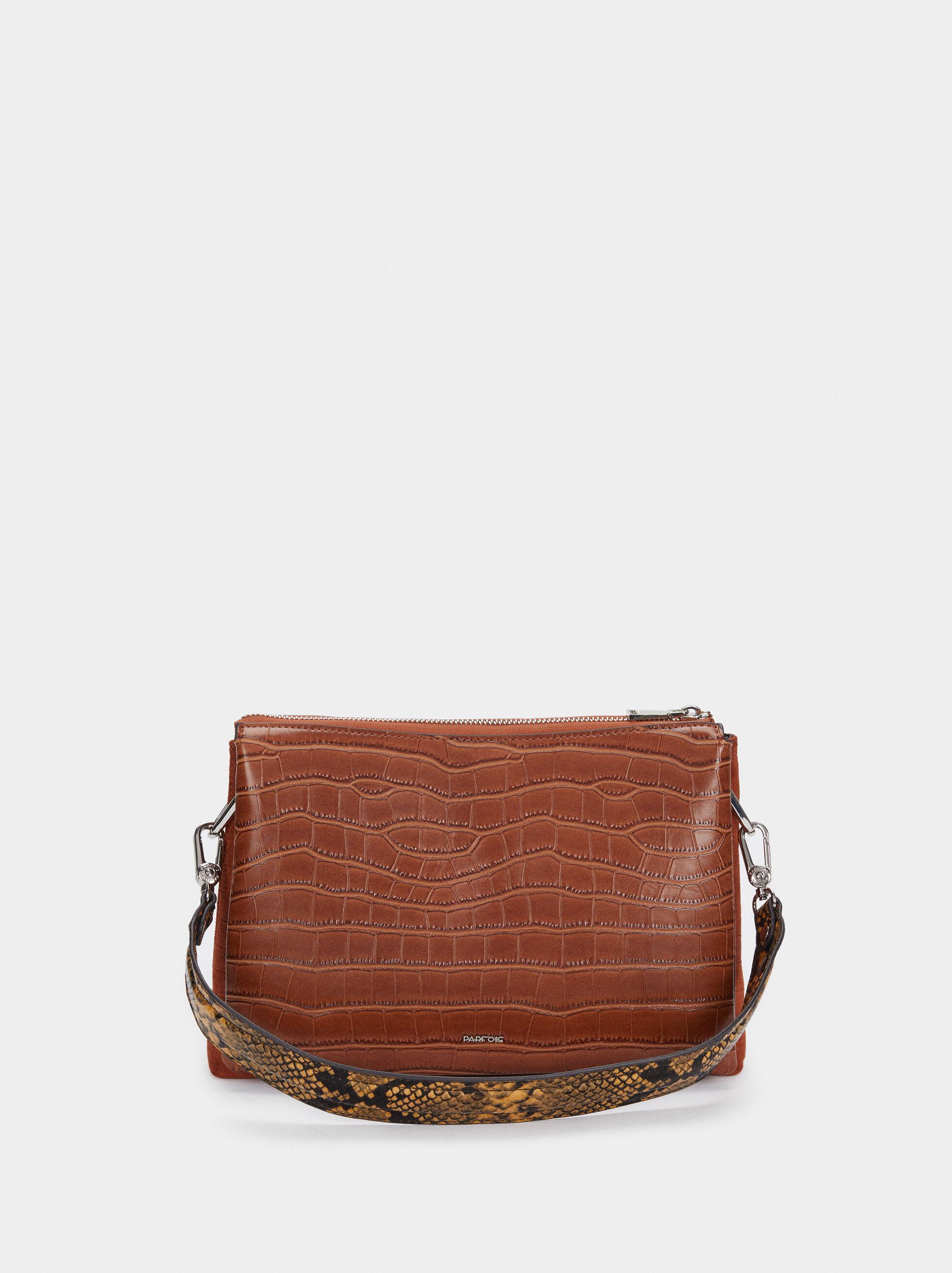 Crossbody Bag With Embossed Animal Print, Camel, hi-res