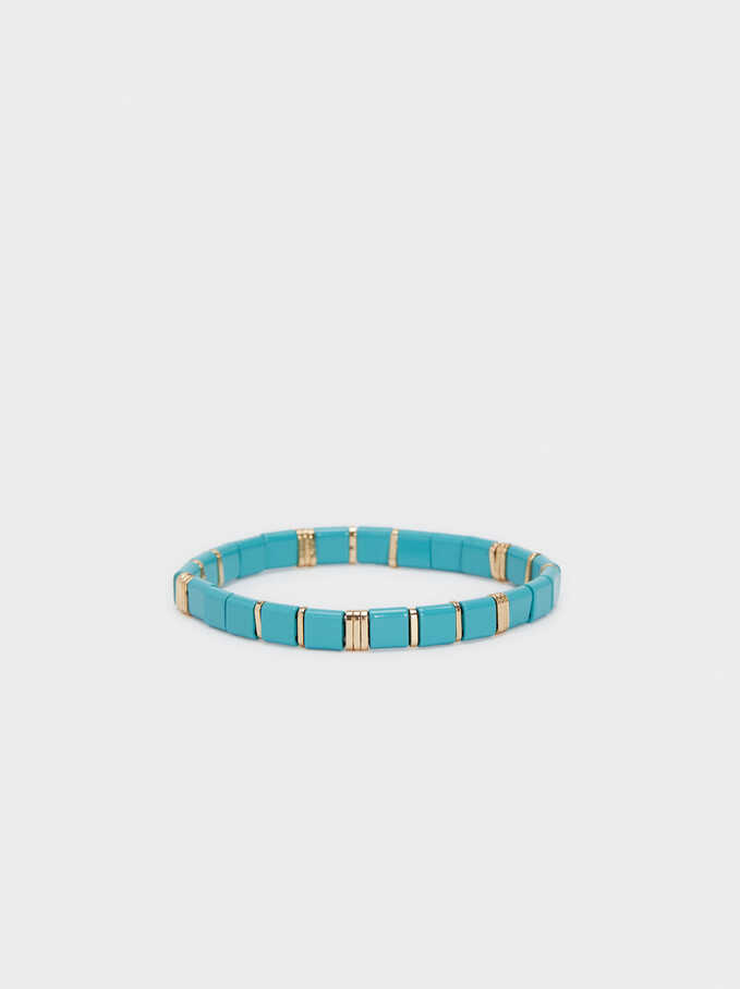 Elastic Bracelet With Stones, Blue, hi-res