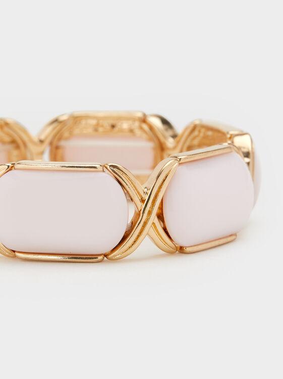 Land Elasticated Bracelet With Stones, Pink, hi-res