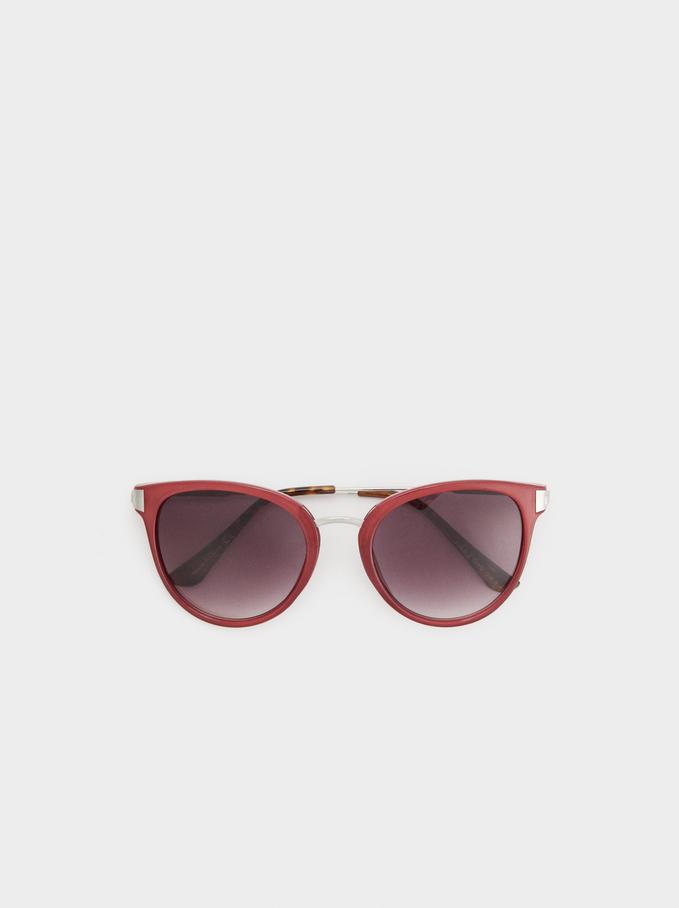 Cat Eye Sunglasses With Chain, Purple, hi-res