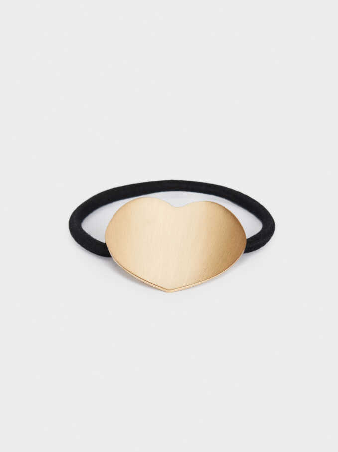 Hair Elastic With Gold Detail, Golden, hi-res