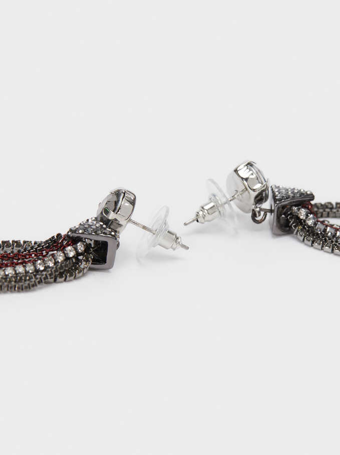 Extra Long Earrings With Tassels And Multicoloured Crystals, Bordeaux, hi-res