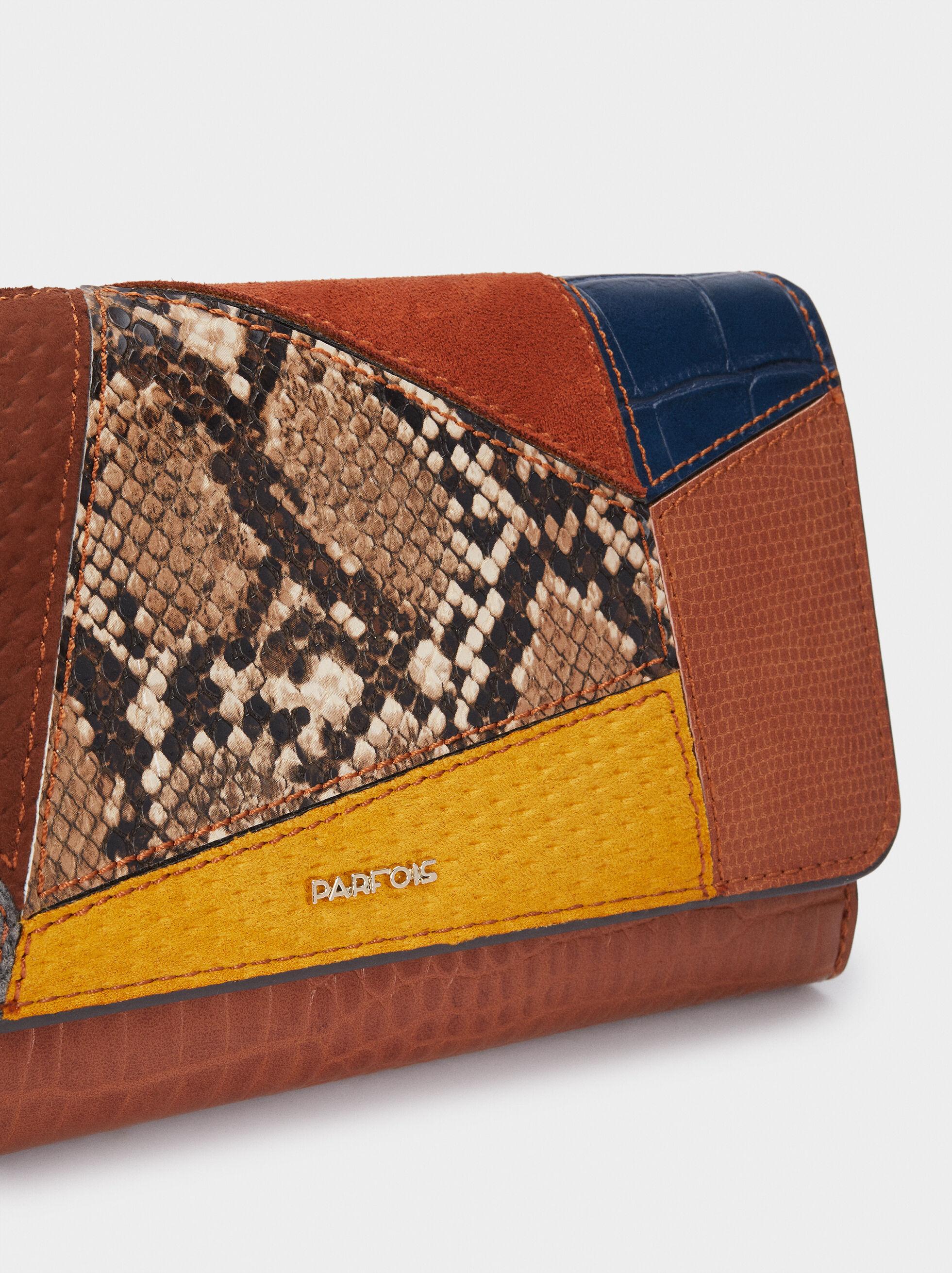 Patchwork Design Purse, Camel, hi-res