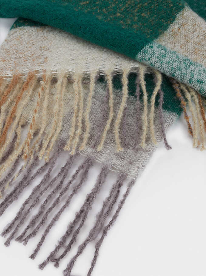 Snood With Fringe Detail, Green, hi-res