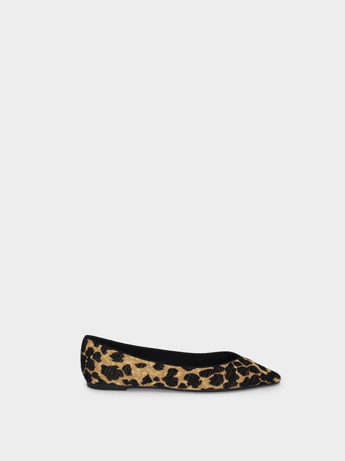 Animal Print Ballerinas, Black, hi-res