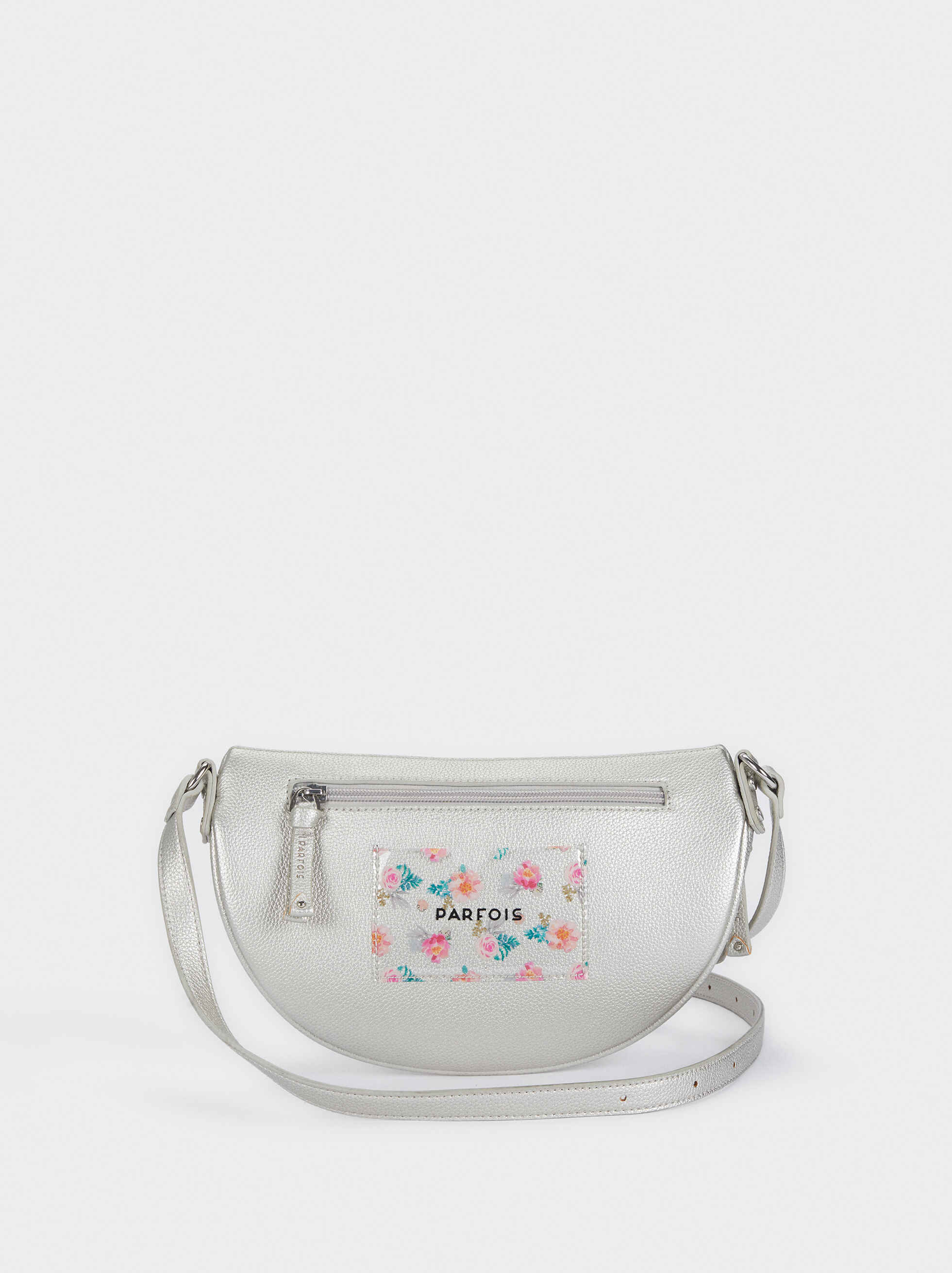 Crossbody Belt Bag With Floral Detailing, Silver, hi-res