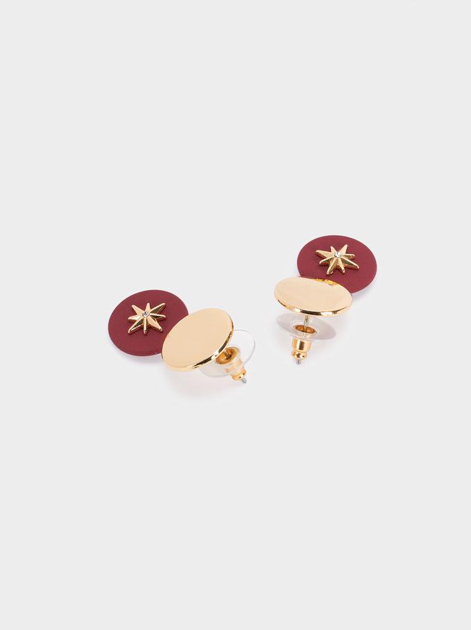 Short Star Earrings, Bordeaux, hi-res
