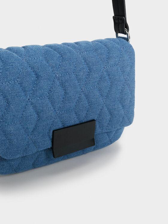 Quilted Denim-Effect Crossbody Bag, Blue, hi-res