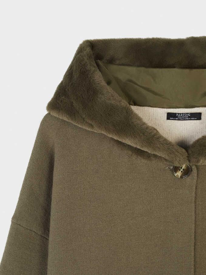 Hooded Cardigan With Pockets, Khaki, hi-res
