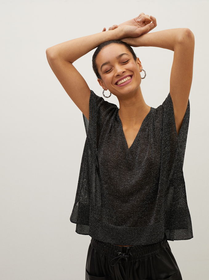 V-Neck Fine-Knit Sweater, Black, hi-res