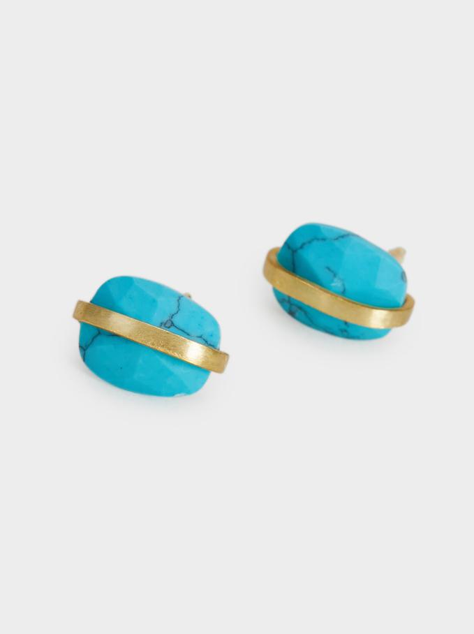 Brincos Curtos De Prata 925 Pedra, Bege, hi-res