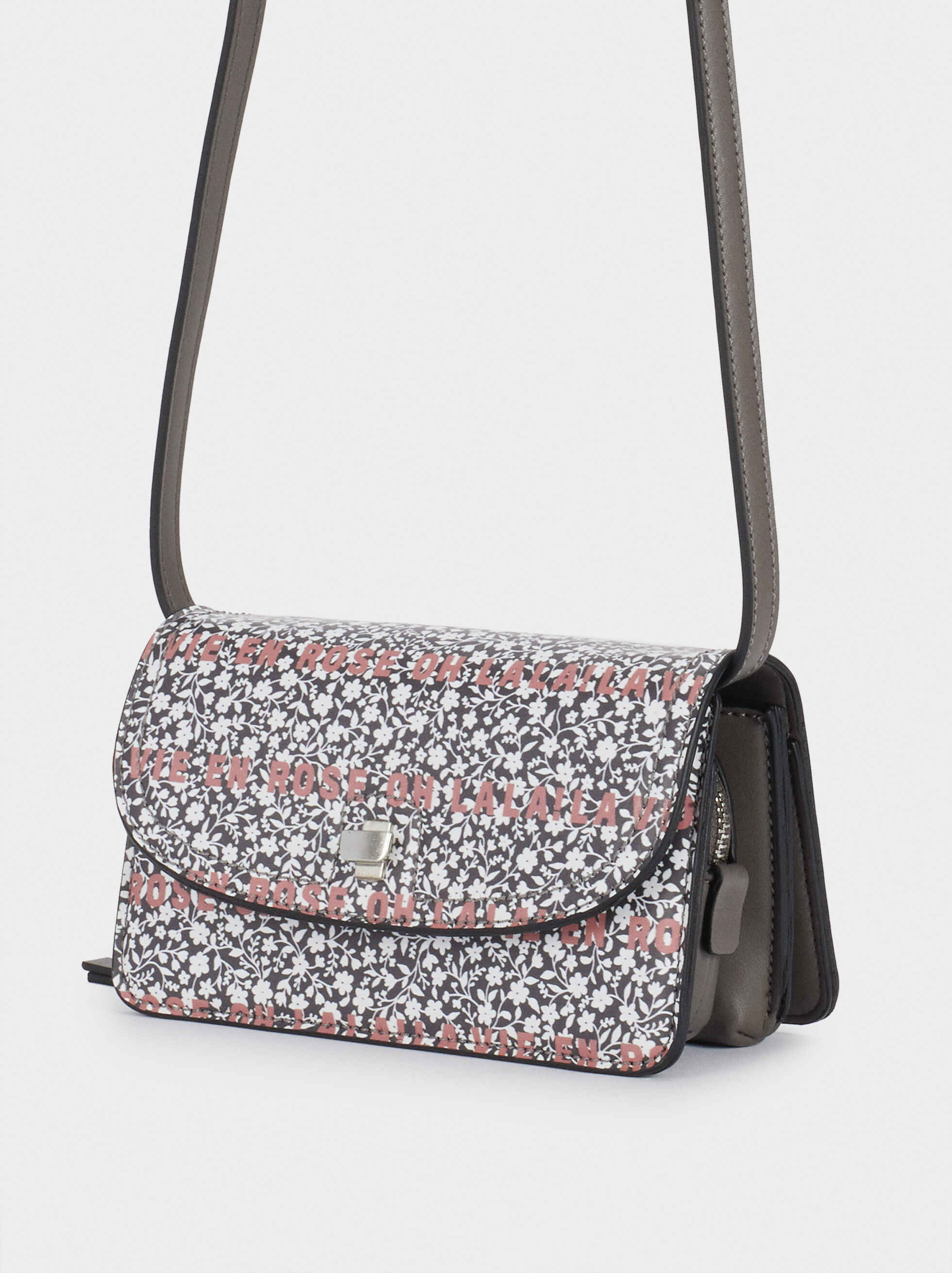 Purse With Crossbody Strap, Grey, hi-res