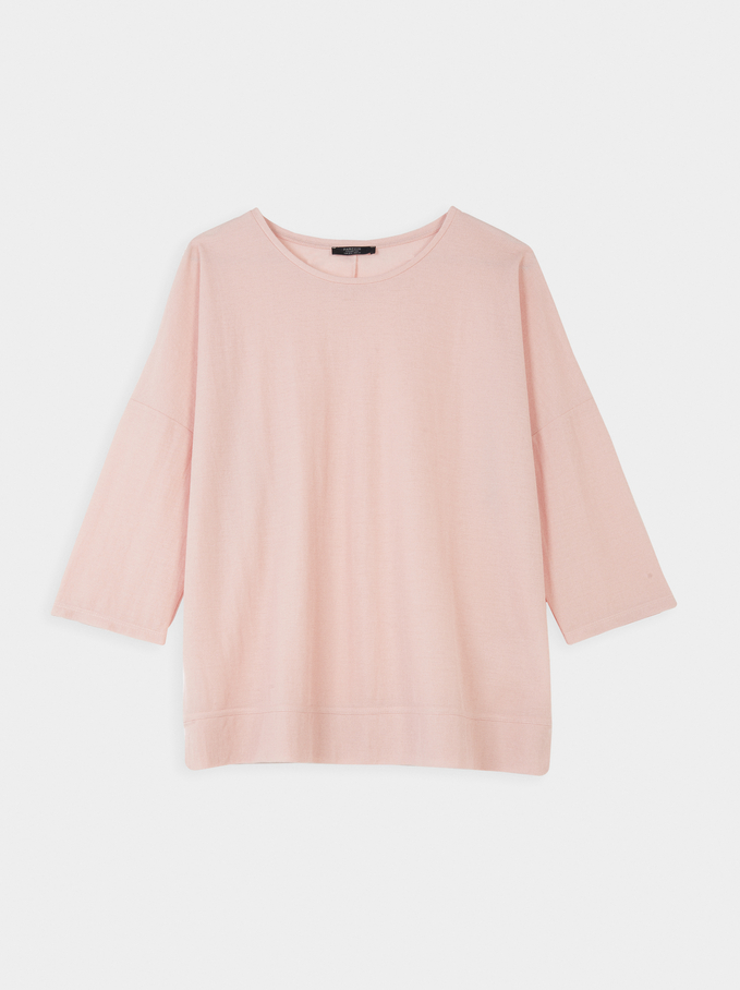 Plain Round Neck T-Shirt, Pink, hi-res