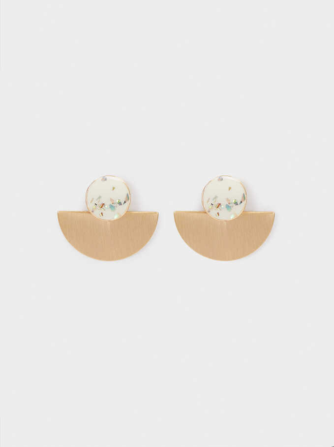 Short Enamel Earrings, Beige, hi-res