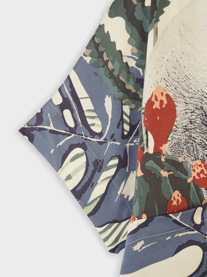 Multicoloured Printed Oversize Kimono, Multicolor, hi-res