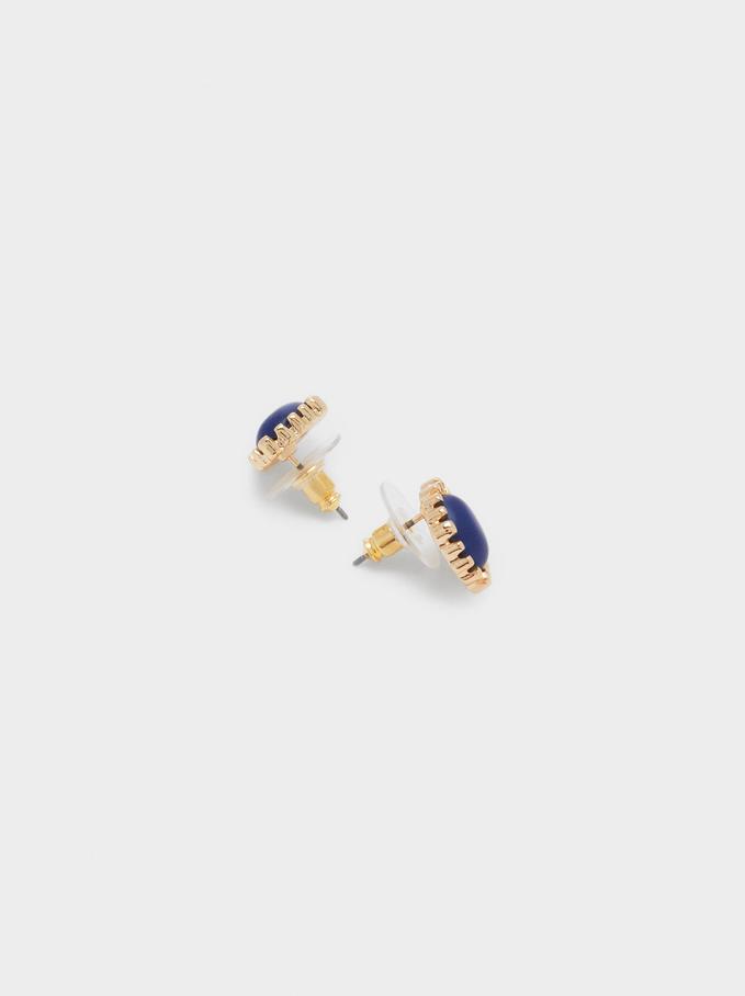Short Earrings With Gem, Blue, hi-res