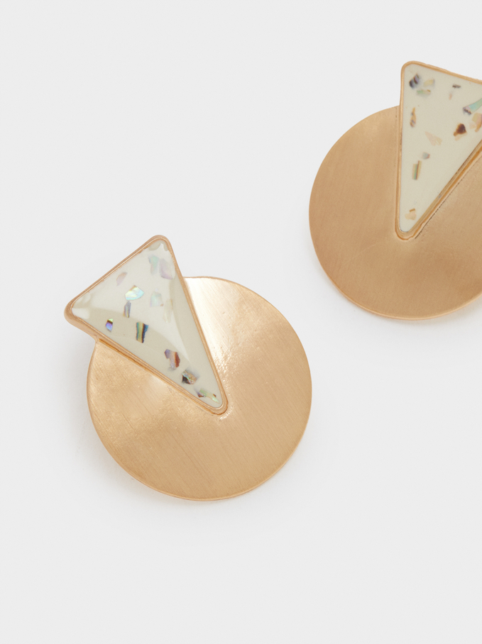 Short Geometric Earrings, Beige, hi-res
