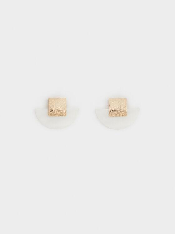 Faux Pearl Short Earrings, , hi-res
