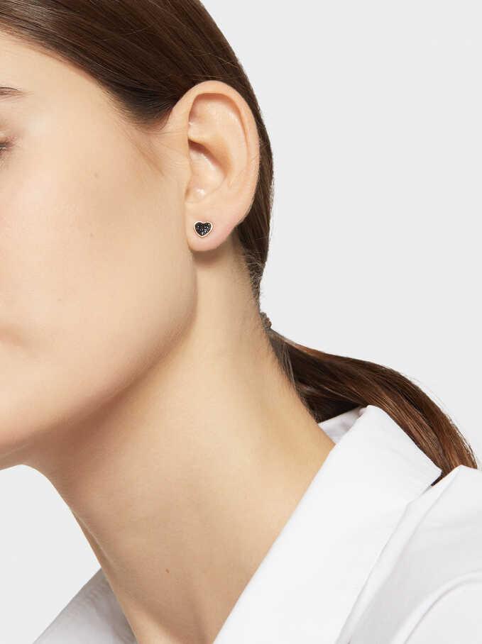 Short Steel Earrings With Heart, Orange, hi-res