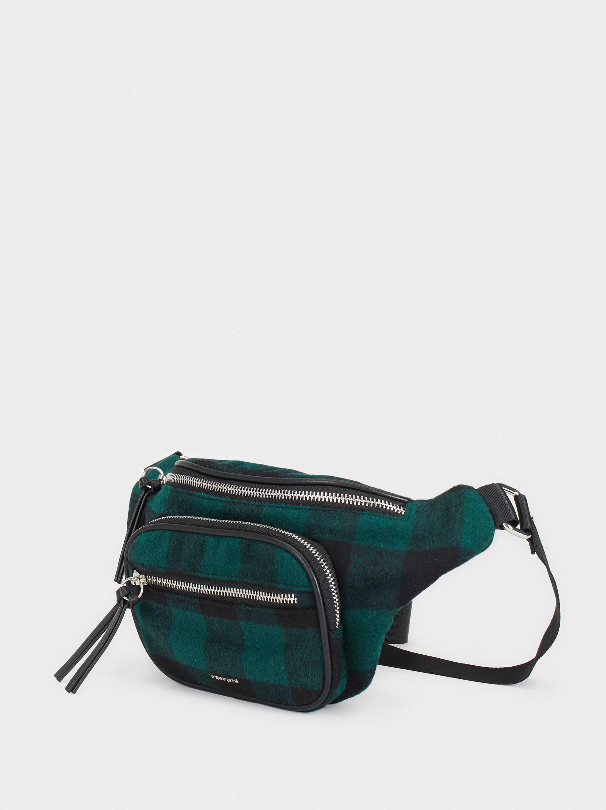 Check Print Belt Bag, Green, hi-res