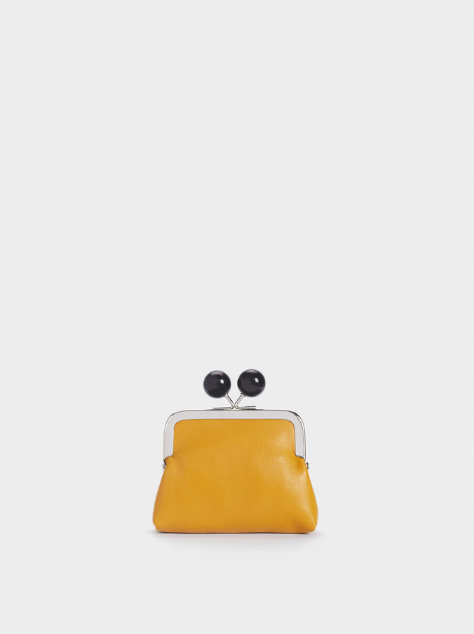 Purse With Clasp Fastening, Yellow, hi-res