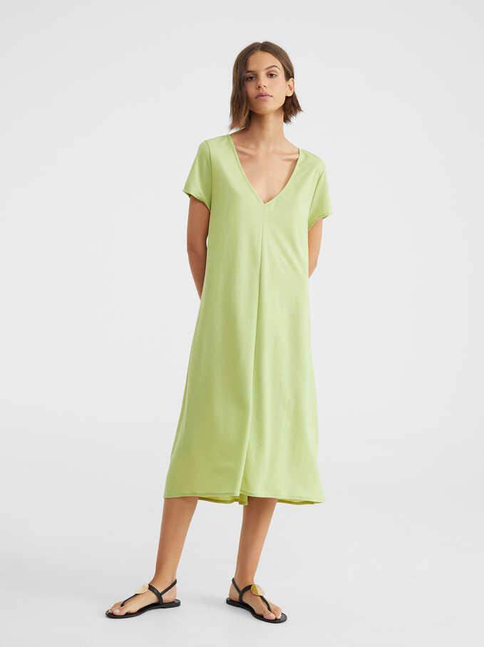 Dress With V-Neckline, Green, hi-res
