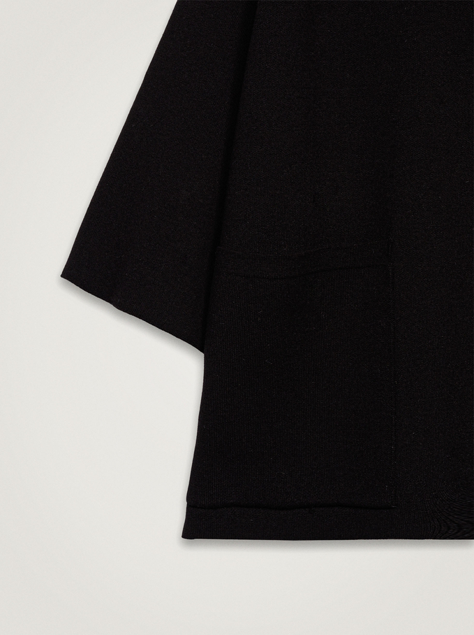 Knit Poncho With High Neck, Black, hi-res