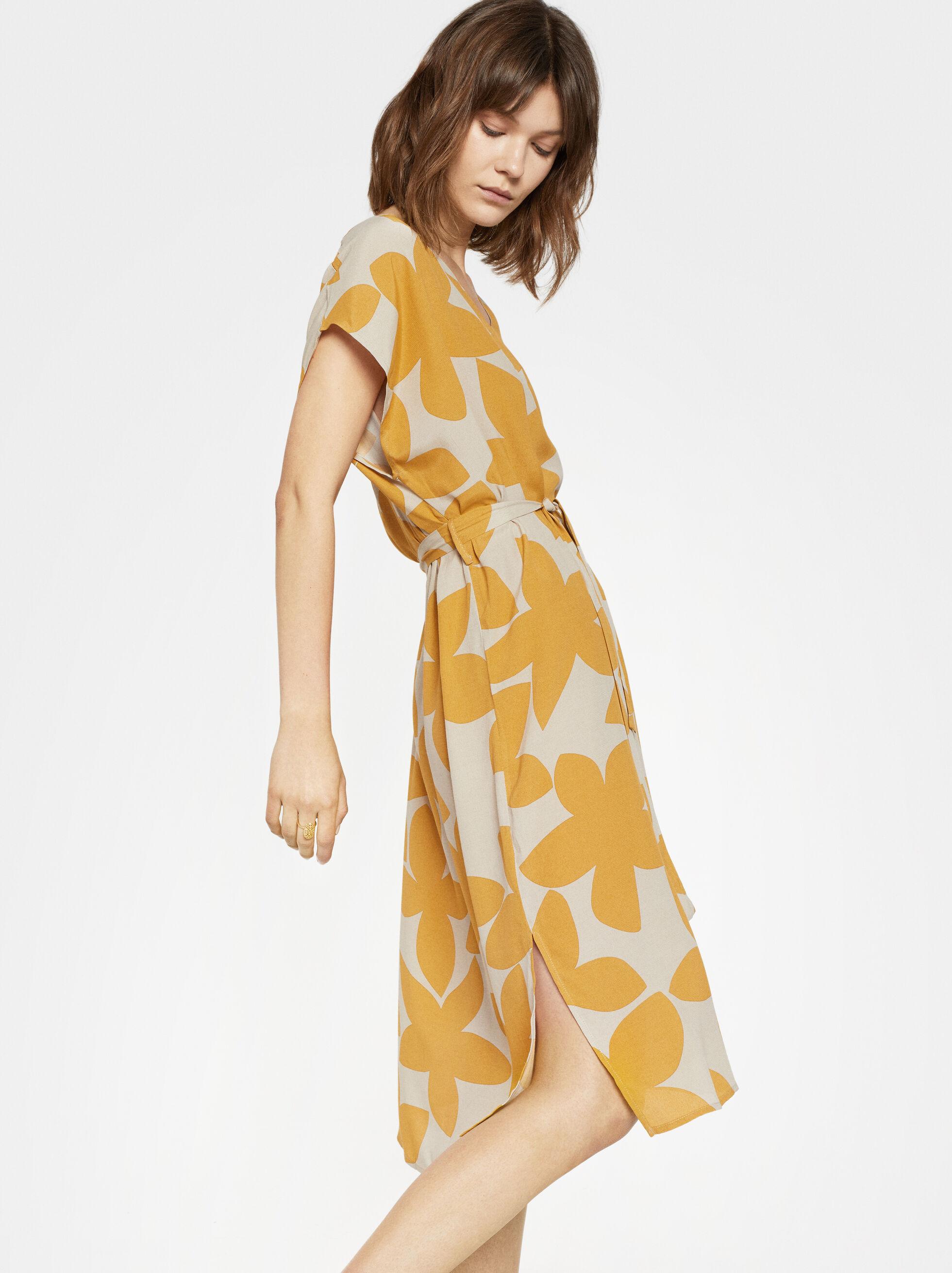 Floral Print Dress Online Exclusive, Mustard, hi-res