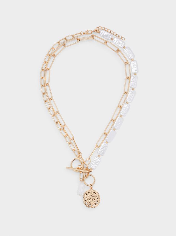Collar Corto Combinado Con Perlas Y Medallón, Blanco, hi-res