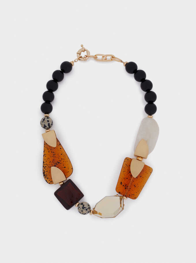 Short Necklace With Stones, Multicolor, hi-res