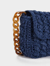 Crossbody Bag Made Of Braided Raffia, Blue, hi-res