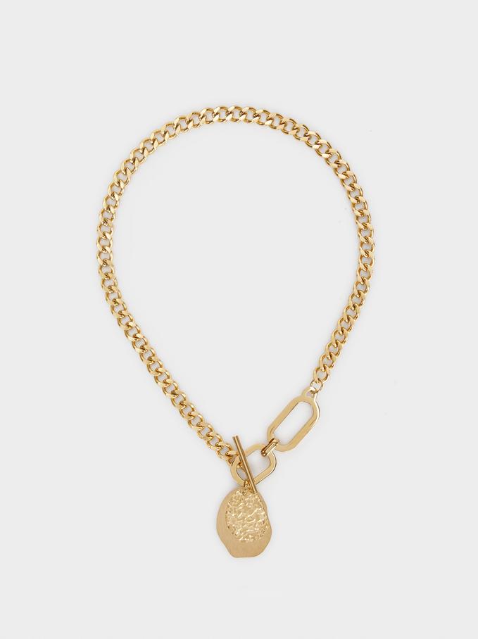 Collar Cadena De Acero Dorado, Dorado, hi-res