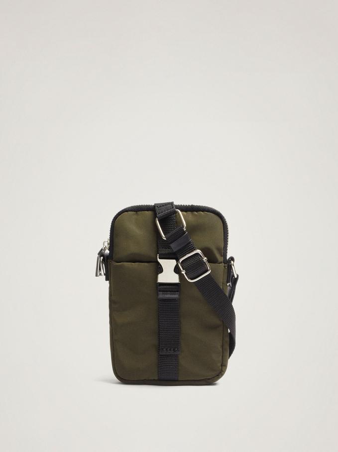 Nylon Mobile Phone Case With Shoulder Strap, Khaki, hi-res