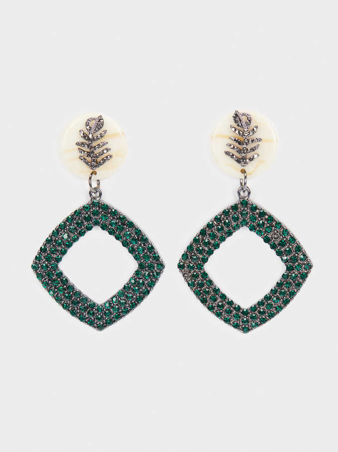 Long Earrings With Leaf And Crystals, Multicolor, hi-res