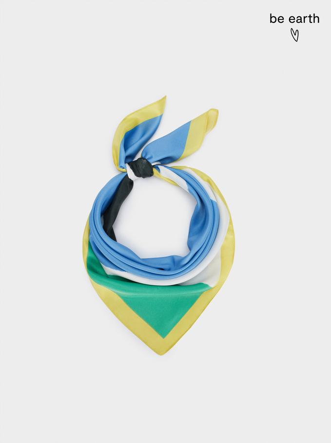 Kwadratowa Wzorzysta Chustka Z Materiałów Z Recyklingu, Niebieski, hi-res
