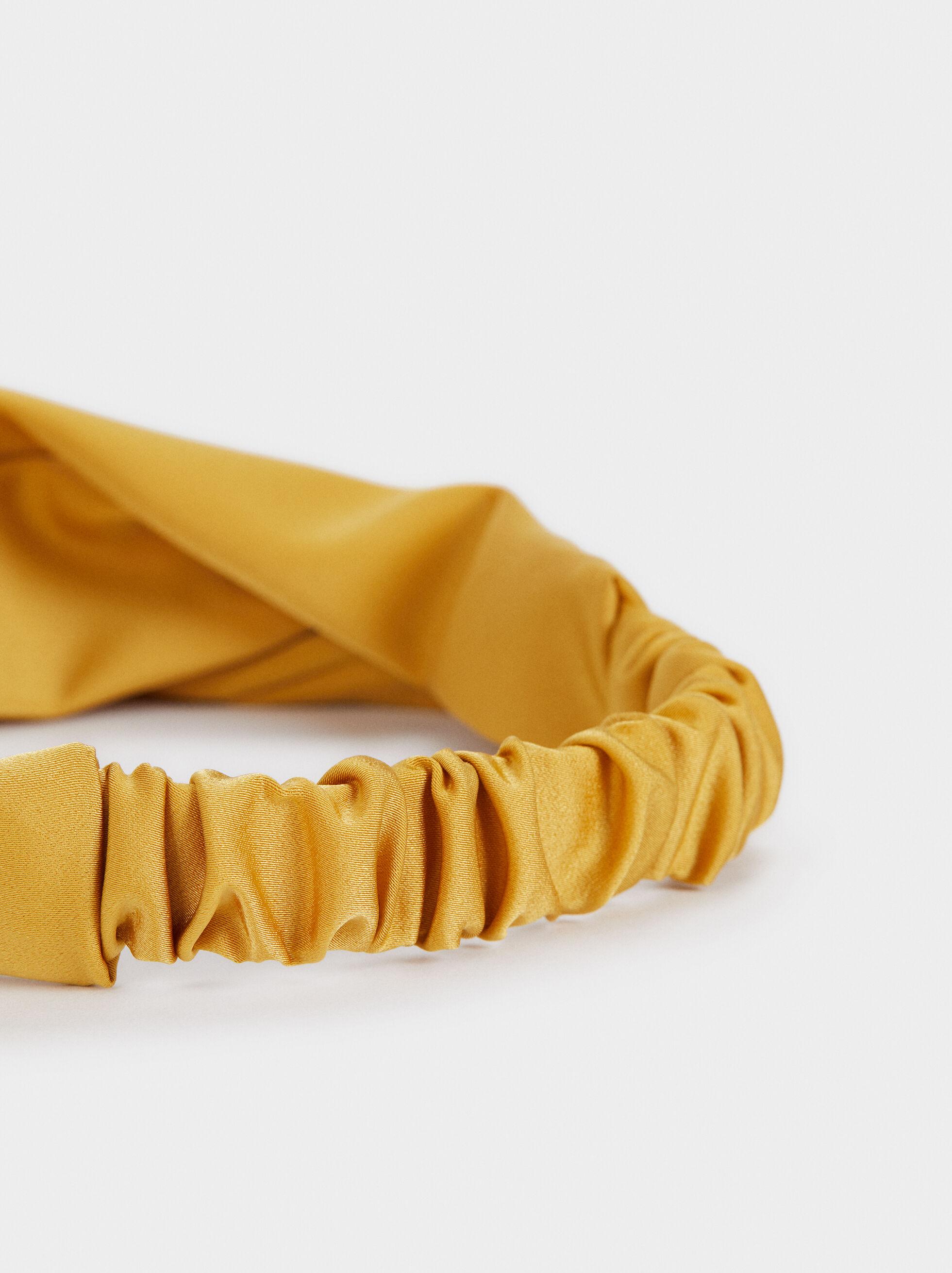 Multicoloured Print Turban-Style Headband, Mustard, hi-res