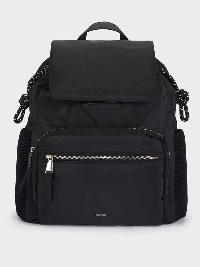 Quilted Nylon Backpack, Black, hi-res