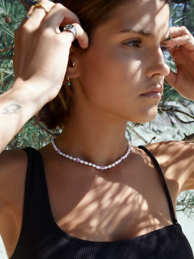 Collar Corto Con Perlas Y Flores, Multicor, hi-res