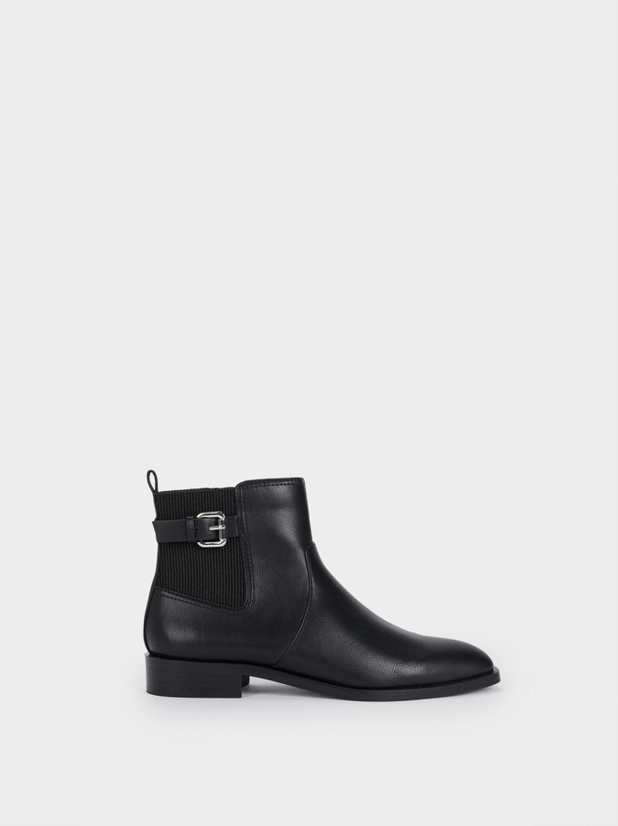 Flat Ankle Boots With Buckle Detail, , hi-res