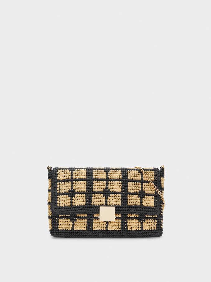 Braided Raffia Crossbody Bag, Black, hi-res