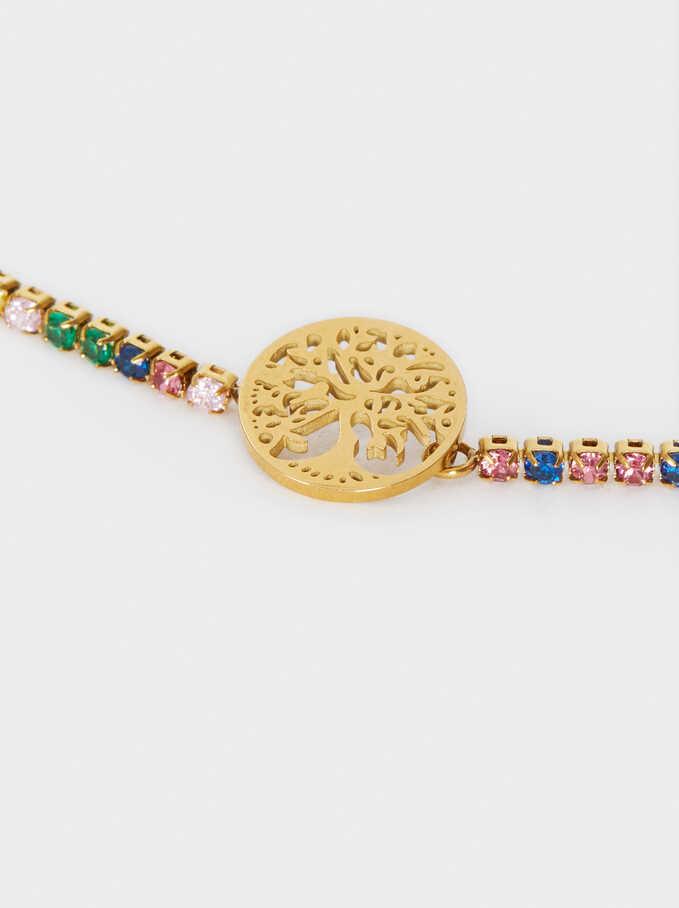 Gold Stainless Steel Adjustable Bracelet With Crystal Detail, Multicolor, hi-res