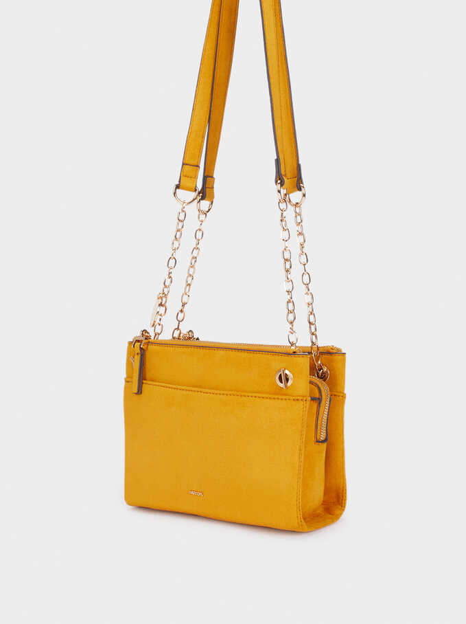 Fake Suede Crossbody Bag, Mustard, hi-res