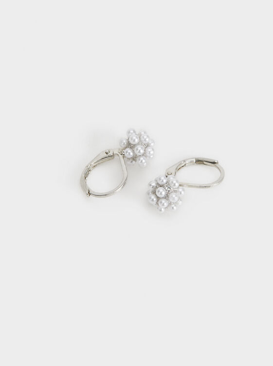 Short Faux Pearl Earrings, Beige, hi-res