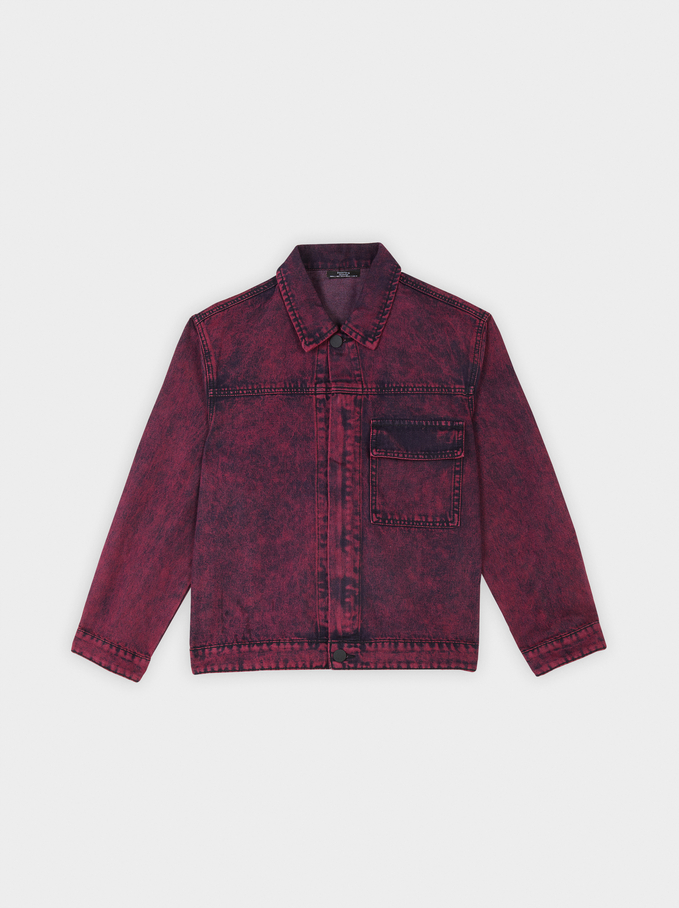 Veste Courte En Denim, Bordeaux, hi-res