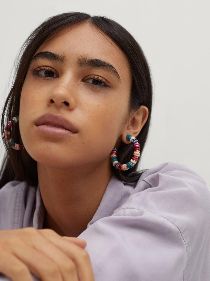 Large Shell Hoop Earrings, Multicolor, hi-res
