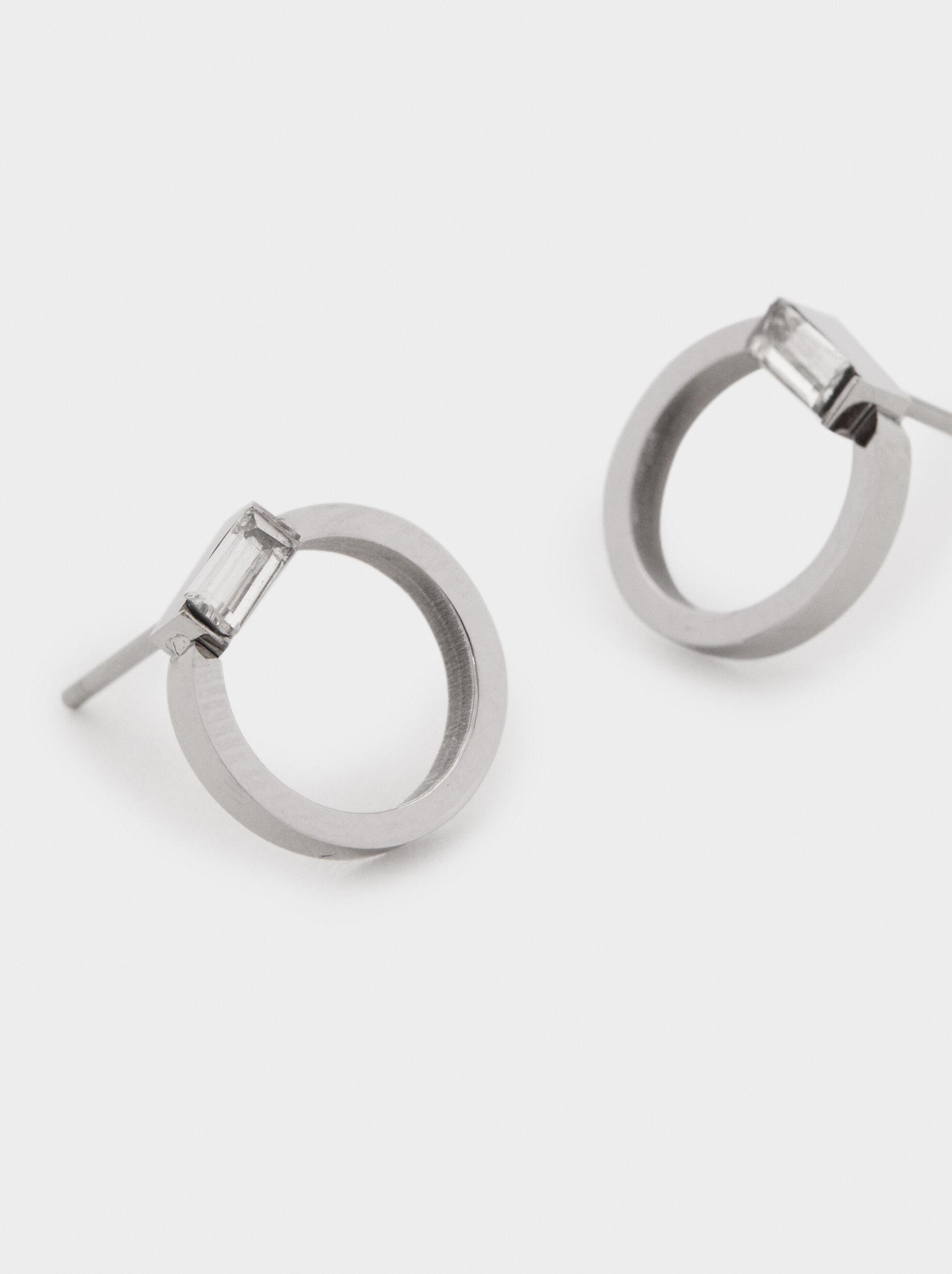 Small Stainless Steel Hoop Earrings, Silver, hi-res