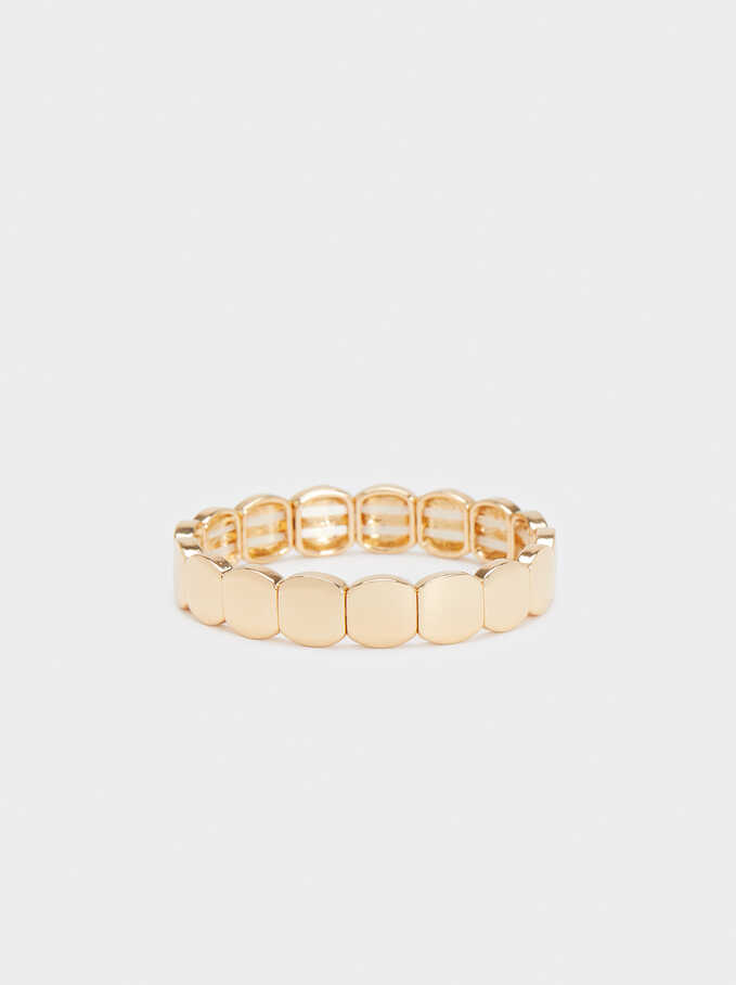Gold Elasticated Bracelet, Golden, hi-res