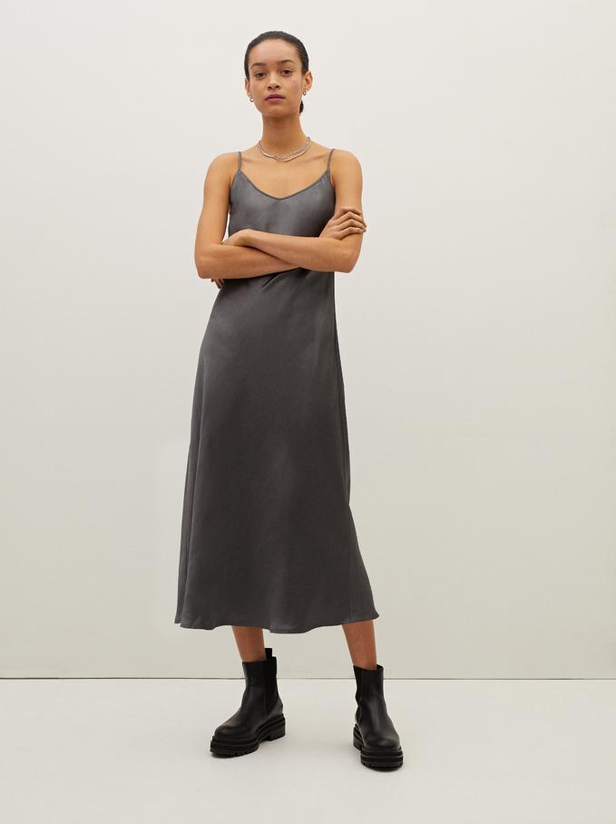 Sleeveless Flowing Dress, Grey, hi-res